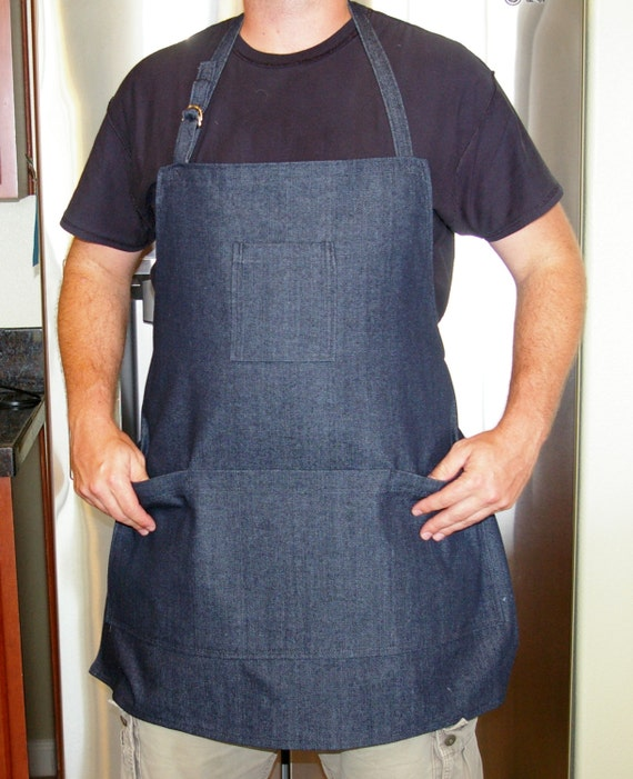 Heavy Duty Aprons : Heavy duty black denim man apron size xl
