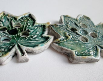 Maple Leaves - Two Porcelain Buttons