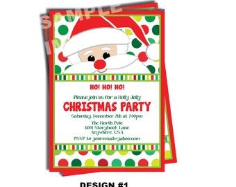 Santa Claus Invitation - Santa Birthday Party Invitation - Christmas Party Invite - Santa Cookie Party Printable Invite Holiday - 2 Designs