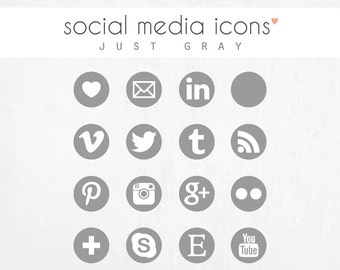 "social media icons + ""pin it"" button JUST GREY"