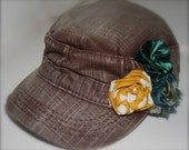 Boho Chic Brown Cadet Cap w/ Hand-sewn Green & Sunshine Yellow Accent Flowers