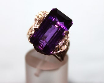 10ct Purple Amethyst Gemstone Ring Handmade Sterling Silver Setting. African Violet Gemstone