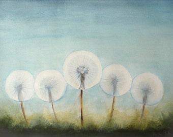 Fluffy Dandelion Plants, Fine Art Watercolor Painting, 16 x 11 inches, Five Dandelions Watercolor Original Art Floral Painting, Home Decor