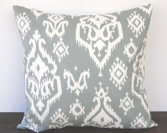 Pillow, Throw Pillow, Pillow Cover, Cushion, Toss Pillow, Decorative Pillow, grey Ikat Raji