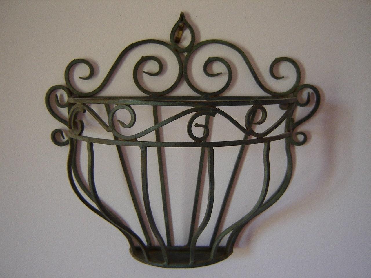Wrought Iron Wall Pocket/ Ornate Iron Decor/ Garden Decor/