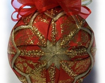 Crimson Poinsettia Red and Gold Unique Handmade Keepsake Quilted Ornament