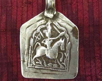 Large Antique Silver Bhumiya Raj Hindu Amulet