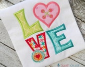 Custom Love with button stitched heart applique tshirt or onesie