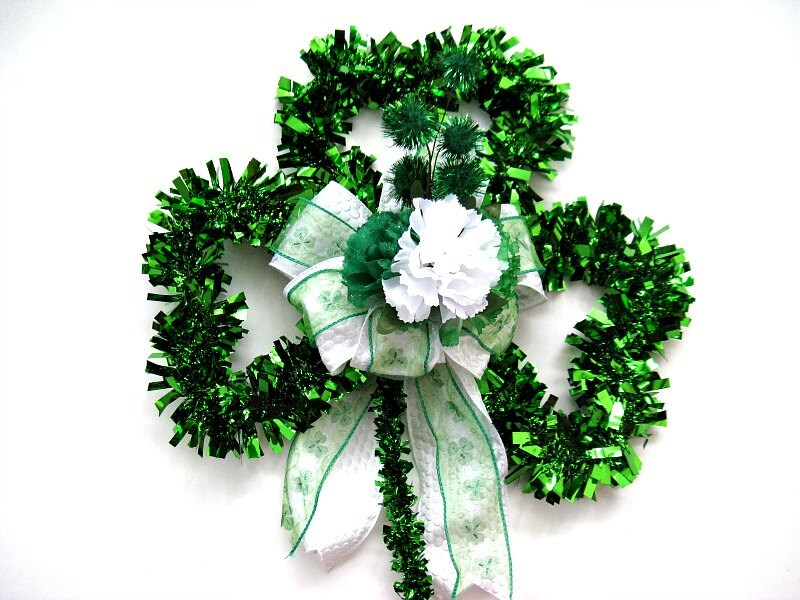 St patrick s day wreath green tinsel shamrock by