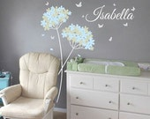 Vinyl wall decal Dandelion Butterflies with Custom Name Nursery wall decal