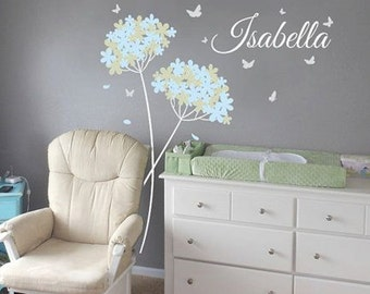 Vinyl wall decal Dandelion Butterflies with Custom Name Nursery wall decal