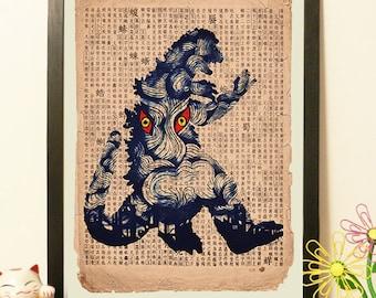 Japanese Godzilla Blue - Vintage Japan paper Dictionary Print