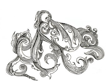 """Octopus Drawing - Scrollwork Cephalopod  - Fine Art Giclee Print of 6""""x4"""" Black and White Linework Drawing"""