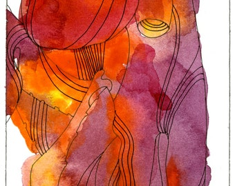 """Octopus Painting - Octopus of Discord - Original 4""""x6"""" Watercolor Painting - Free Shipping"""