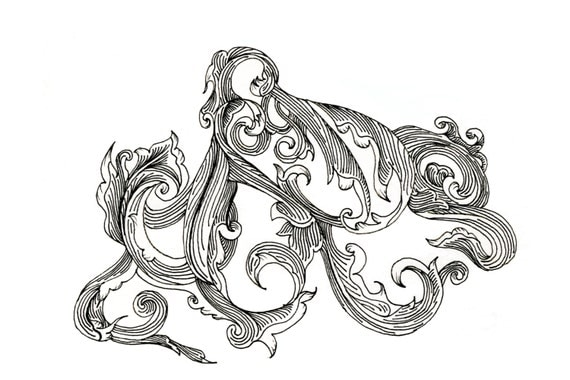 Black Octopus Drawing Octopus Drawing Scrollwork