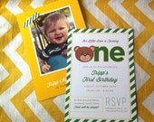 Baby's First Birthday Party Invitation, Baylor Bear themed baby shower, baby's first birthday bear theme, gold and green shower invite