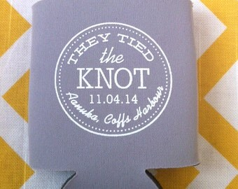 Tied the Knot Wedding can coolers, Nautical wedding favors, Anchor wedding coolies, tie the knot cold beer holder (100 qty)