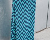 Girls Chevron Maxi Skirt in Teal and Navy Blue