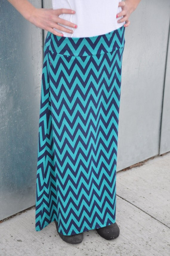 chevron maxi skirt in teal and navy blue