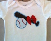 Baseball with bow onesie
