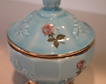 Vintage House Of Fuller Genuine Porcelain Rose Candy Dish With Lid, Trinket
