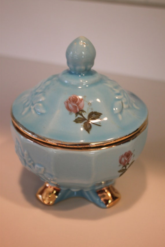Vintage House Of Fuller Genuine Porcelain Rose Candy Dish With
