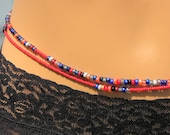 Disco Fever - Double (2) Strand Waistbeads in Red Blue Grey, Sterling Silver Clasp