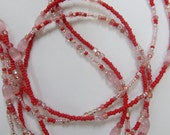 Just Be Mine - Pink and Red Double (2) Strand Waistbeads, Sterling Silver Clasp