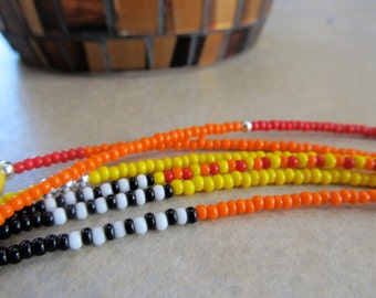 Tutti Frutti - 3Strand Waist Beads - Red, Orange, Yellow Black and White Triple Strand Waistbeads