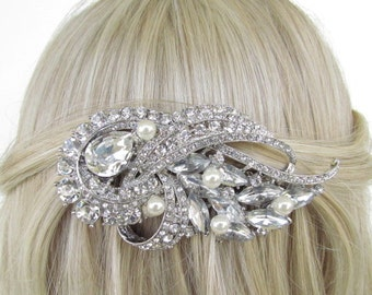 pearl hair comb, bridal hair comb, bridal hair accessories,rhinestone bridal comb,crystal wedding hair comb,wedding hair accessories