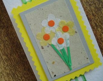 Beautiful bright springtime flowers card.Individually handmade for any occasion