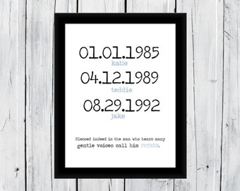 Custom Gift for your Father 8x10 Important Date Print