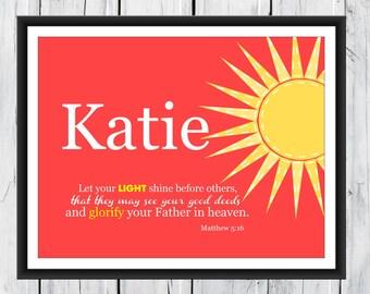 Bible Verse Nursery Print  Matthew 5:16 Christian Art