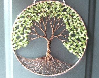 Peridot Olive Tree, Wire Tree of Life Wall Hanging, Sun Catcher, Peridot, Green Decor, Wisdom, Peace, Earth