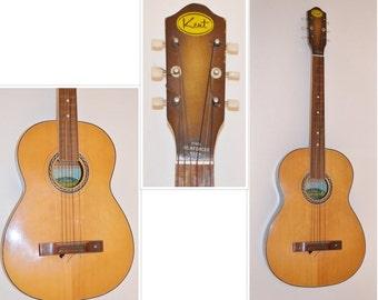 Kent Carmencita Vintage Guitar, Acoustic Guitar in Original Case, Vintage Instrument, Stringed Instrument, Wood