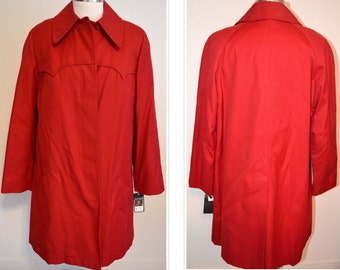 Women's NOS Coat, Red Winter Coat, BRAND NEW London Fog Bright Red Ladies' Lined Winter Trench Coat