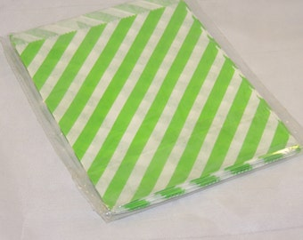 100 Lime Green Striped 5x7 inch Treat Bags, Striped Food Gourmet bags, Goody bags, Wedding Party Favor Colored Candy Bags, Food safe Bags