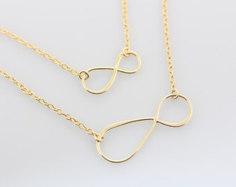 GOLD INFINITY Necklace. CHOOSE Small or Big Infinity Necklace, Mother Daughter Necklace,Friendship Symbol, Sisters Necklace, Best friends