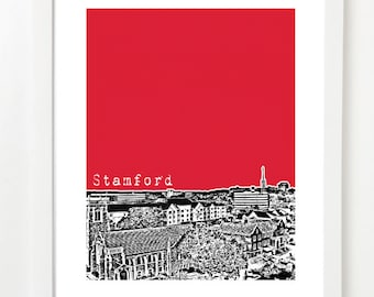Stamford, Connecticut Poster - City Skyline Series Art Print - State Art
