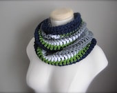 Crochet Navy Blue, White, Grey, and Green, NHL, NFL Hockey Football, Seattle Seahawks, Sports Team Infinity Scarf, Men's Scarf, Unisex Scarf