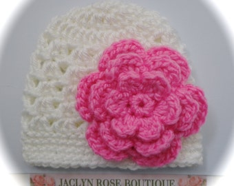 CROCHET baby hat white with pink yellow or coral flower for newborn  0-3 or 3-6 month photo prop Spring Easter beanie