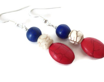Red White and Blue Earrings, Turquoise Earrings, Red Turquoise Earrings, Blue Turquoise Earrings, Patriotic Earrings, Patriotic Jewelry