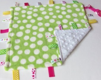 Lime Green Poke A Dot - Soft Cuddle Minky - Owl Ribbons - Baby Sensory Binky Blanket - Measures 17 x 17 - Ready To Ship