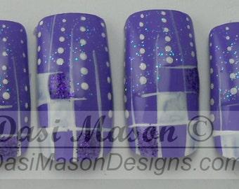 Purple Dots and Checks Instant Acrylic Nail Set