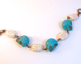 Turquoise & Antique Brass - Bracelet
