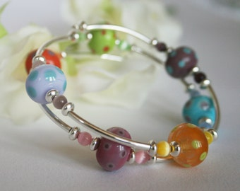Lampwork Glass Rainbow Bracelet