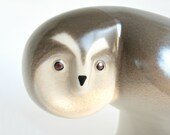 Vintage Modern Arabia Finland WWF Ceramic Owl Figurine / Lillemor Mannerheim for World Wildlife Fund /  Modernist Bird Sculpture