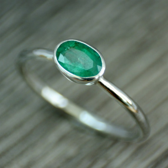 items similar to emerald ring green oval gemstone