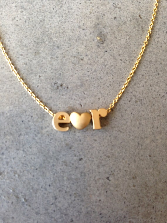 Lower case initial necklace, gold initial, heart necklace, love, initial letter, letter necklace, personalized, monogram & name necklaces