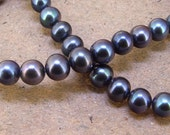 """One Full Strand--- Luster Black Pearl Pure Freshwater Pearl----7mm-8mm----about  56 Pieces----15.5"""""""